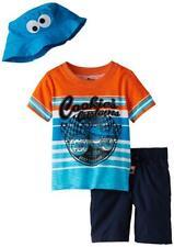 Sesame Street Cookie Monster Toddler Boys S/S Top 3pc Short Set Size 2T 3T 4T