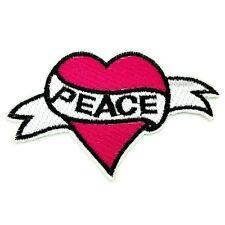 Patch ricamate CUORE HEART Retrò Peace aufbügler SHABBY Rockabilly Tatuaggio Rosa
