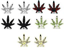 Mens Iced Marijuana Mary Jane Black Gold Silver Red Crystal Earrings Cz Hip Hop
