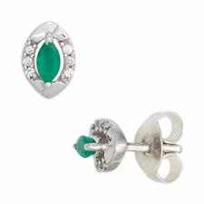 Ohrstecker oval 333 Weißgold 2 Smaragde grün 12 Diamanten Brillanten Ohrringe
