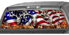 Waving American Flag Buck Skull Flames Rear Window Graphic Decal Tint suv camo