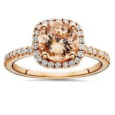 1 1/4Ct Morganite & Diamond Cushion Halo Engagement Ring 14K Rose Gold