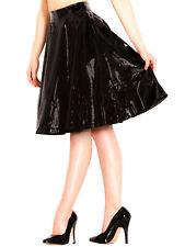 Honour Women's Cute Skirt in PVC Black 1950s Dance Jive Circle Design