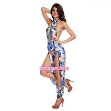 New Womens Halter Sleeveless Backless Dacron Spandex Printing Jumpsuits-apparel