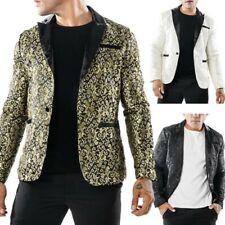 Men's Korean Blazer Coats One Button Slim Fit Lapel Dress Leisure Jackets Hd214