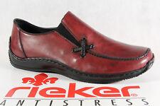 Rieker Zapatillas mujer Zapatos, Zapatillas Cuero Rojo Vino L1783 NUEVO