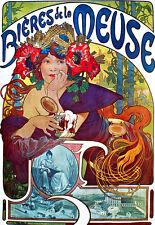 Alphonse Mucha - Bieres de la Meuse - Beer Deco Advert A3 Art Poster Print