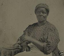 SCARCE RARE SLAVERY ERA AFRICAN AMERICAN LADY APPLE PIE COOK TINTYPE FINE PHOTO