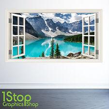 Montagnes Lac Sticker Mural Fenêtre Couleur Complète- Chambre Salon Nature W102