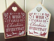"""Placa de casa de madera de Navidad """"deseo podría ser cada día navidad"""" rojo y blanco"""