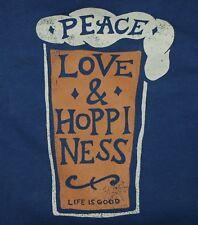 NWT Men's Life is Good Peace Love Hoppiness Beer Beer Crew Neck Sweatshirt