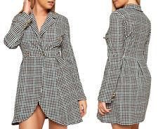 New Check Print Longline Blazer Dress Womens Long Sleeve Wrap Collar Dress Cheap