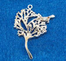 5Pcs. Tibetan Silver Plated TREE w/ BIRD Charms Pendants Jewelry Findings L56