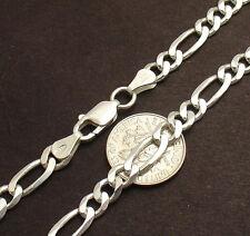 Solid 925 Sterling Silver All Sizes Royal Figaro Link Ankle Bracelet Anklet Real