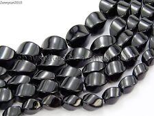 Natural Black Onyx Gemstone Swirl Twisted Drum Beads 15.5'' 6mm 8mm 10mm 12mm