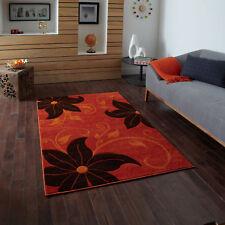Small Large Modern Floral Verona Quality 12mm Terra Orange Brown Rugs Runners