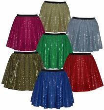 """Ladies 15"""" Coloured Sequin Fancy Dress 1970's Disco Dance Diva Skater Skirt"""