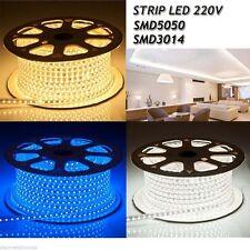 STRISCIA STRIP LED BOBINA SMD 5050 3014 SPINA 220V BIANCA TUBO ESTERNO 1 A 100 M