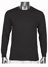 2 Pro Club Heavyweight Blank Long Sleeve T-Shirts Black Plain Shirt Size M-7XL