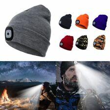 LED Light Beanie Winter Ski Hat Skull Cap Rechargeable USB Knit Cap Headlamp US
