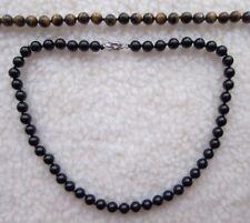 Tiger's Eye, Black Blue Onyx Agate Gemstone Beaded Necklace - Unisex.