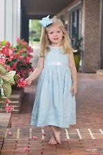 NEW Light Blue Heirloom Lace Slip Dress by Strasburg Children with white sash