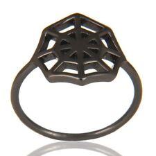 925 Sterling Silver Black Rhodium Jewelry Spider Web Design Ring Jewelry
