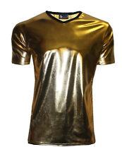 Mens Gold Metallic Wet Look PVC Shiny T-Shirt Top Club Wear V Neck Fancy Dress
