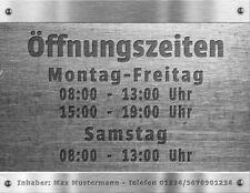 Öffnungszeiten Geschäftszeiten Inhaber Aufkleber Schaufenster Schild Metalloptik