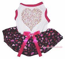 Valentine White Top Hot Pink Rhinestone Heart Skirt Cat Pet Dog Puppy Dress Bow