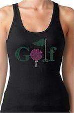 Golf Rhinestone Women's Fitted Tank Tops Sports