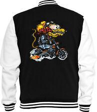 Biker Sweat College Jacke Rat Rod Monster 6 Vintage Comic V8