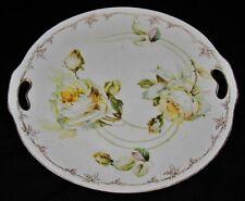 ES Prussia Erdmann Schlegelmilch Suhl, White Roses, Gold Rim, Handled Cake Plate