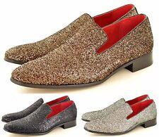 Hommes Paillettes Brillantes Doublure En Cuir Fête Mocassins À Enfiler Shoes in
