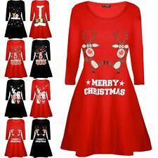Children Kids Girls Xmas Reindeer Wall Snowman Flared Swing Christmas Mini Dress