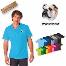 Camiseta Polo Algodón Bordado Bulldog Inglés 2 + Texto personalizado