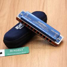 Blue New Easttop T008K Diatonic 10 Hole Portable Pro Blues Harmonica - UK Stock
