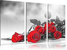 Clásicos Rojos Rosas 3-Teiler Foto en Lienzo Decoración de Pared Impresión