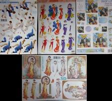A4 3D Paper Tole Decoupage Grecian Lady Long Dress Biker Bear Judo Tae Kwon-Do