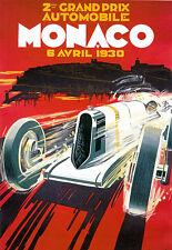 2nd Grand Prix International Automobile Monaco 1930 Deco Car A3 Art Poster Print