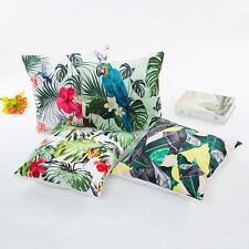 Kissenbezug Satin Optik Papagei Vogel Palmen Blätter 45x45cm mit Reißverschluss