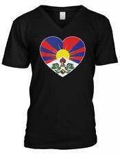 Snow Lion Free Tibet Heart Flag Tibetan Pride Independence Mens V-neck T-shirt