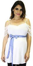 White Blue Short Sleeve Basic Maternity Top Wedding Party Elegant Blouse Belt