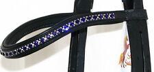 FSS 6mm Crystal DARK PURPLE VELVET Bling Padded Curve V Browband Custom Made