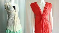 NEW Windsor Rayon Jersey Sheer Sleeveless Drop Shirred Deep V Twist Front Top