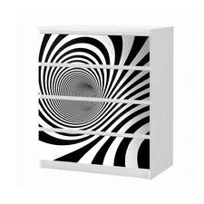 Set Möbelaufkleber für Ikea Kommode MALM 4 Fächer Spirale Textur Folie 25B1092
