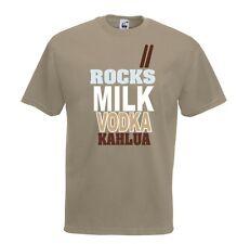 T-Shirt Fun J574 Rocks Milk Vodka Kahlua Rock Latte Vodka Liquore Drunk Brillo
