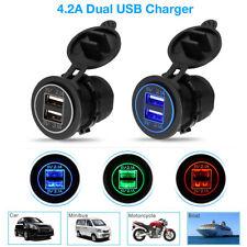 12V 4.2A Motorcycle Car Dual USB Power Fast Charger Port Socket Plug LED Light