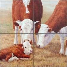 Cow Art Tile Mural Backsplash Elliott Ceramic Country Life CCI-LE18T