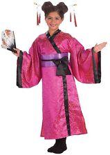 Girls Geisha Princess Costume Pink Kimono Japanese Fancy Dress S M L Child Kids
